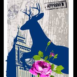 Pink flower with clock tower and a deer  art print by Gallerist