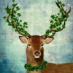 Brown deer with green  leaf  art print by Gallerist