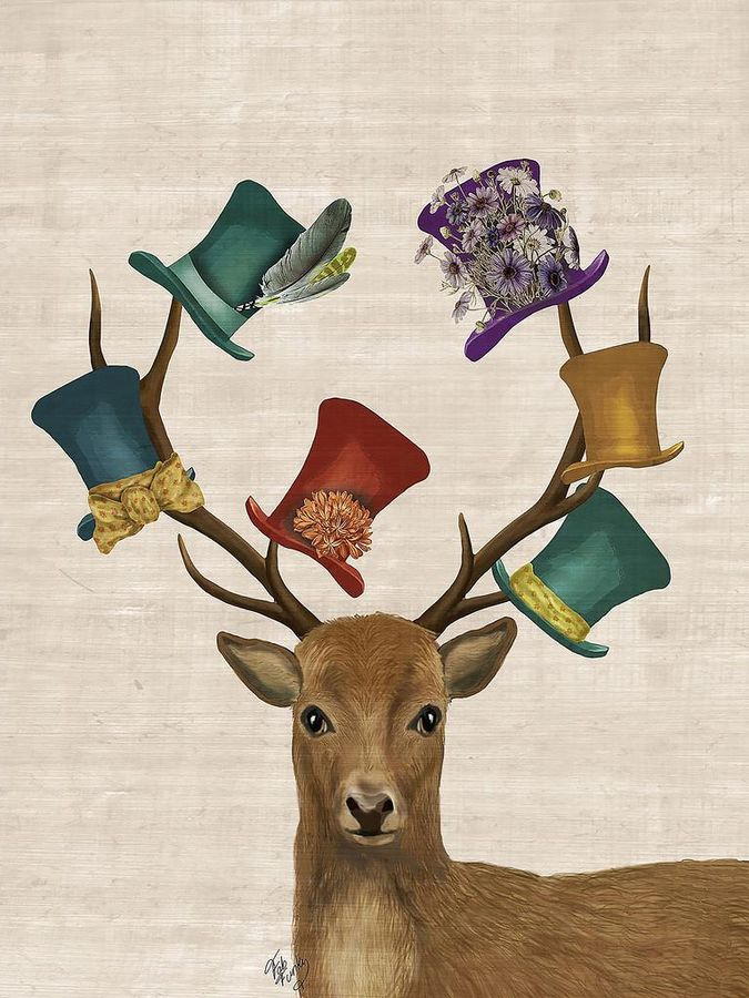 Deer with a glossy hat's
