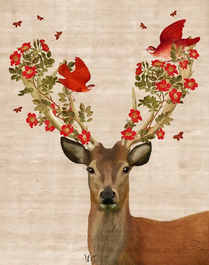 Deer with flower and bird
