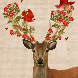 Deer with flower and bird  art print by Gallerist