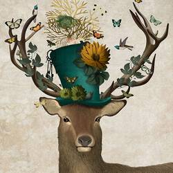 Beautiful butterfuly and bird on deer  art print by Gallerist