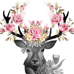 Deer with flower   art print by Gallerist
