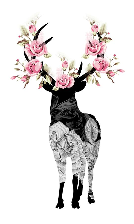 Standing deer with pink flower