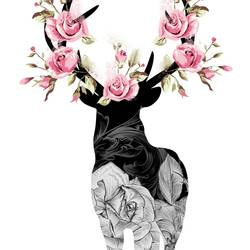 Standing deer with pink flower  art print by Gallerist