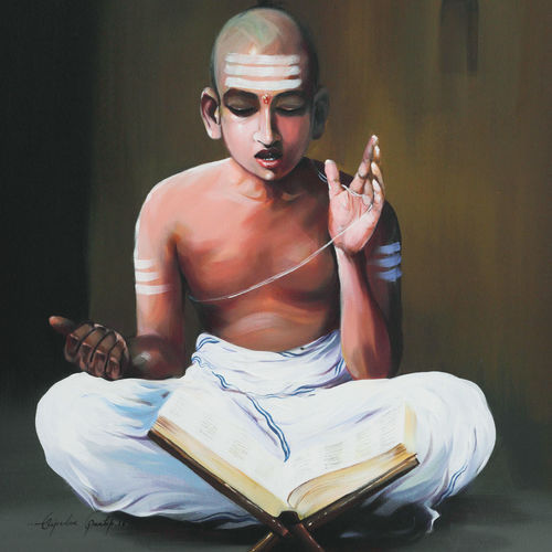 hindu monk boy, 30 x 36 inch, bijendra  pratap ,religious paintings,paintings for dining room,canvas,acrylic color,30x36inch,GAL04531229