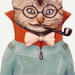 gentalman cat  art print by Gallerist