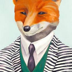 Smiley fox art print by Gallerist
