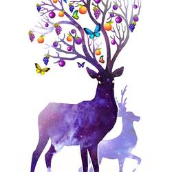 Dark purple deer  art print by Gallerist