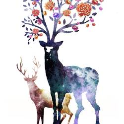Two deer with orange flower  art print by Gallerist
