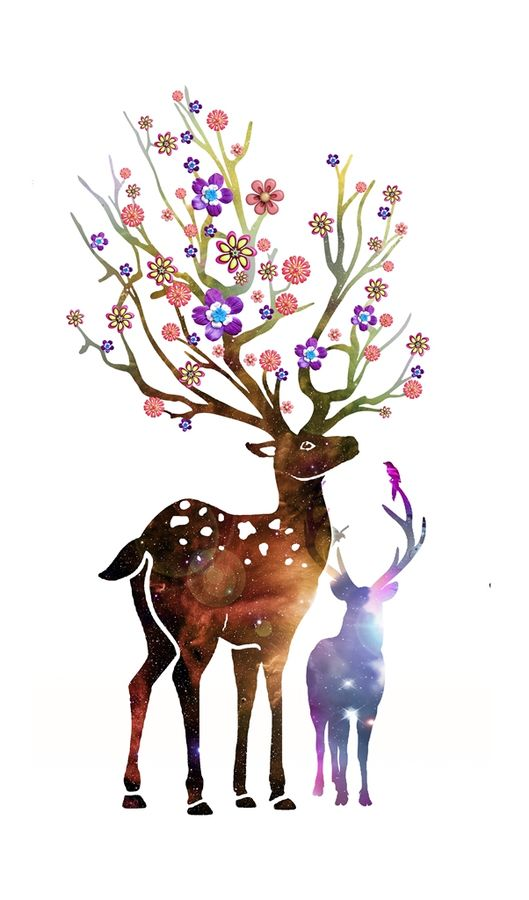 Deer with natural flower