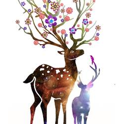 Deer with natural flower  art print by Gallerist