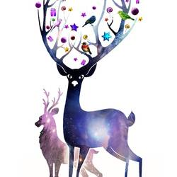 Gift box  and a deer  art print by Gallerist