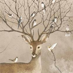 Many bird with a single deer  art print by Gallerist