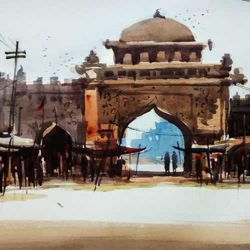 jaipur haat, 21 x 15 inch, sankar thakur,landscape paintings,paintings for living room,fabriano sheet,watercolor,21x15inch,GAL07123