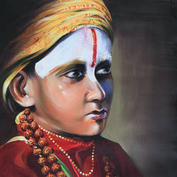 hindu monk boy -2, 18 x 24 inch, bijendra  pratap ,religious paintings,paintings for living room,canvas,acrylic color,18x24inch,GAL04531230