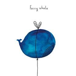 Fairy whale art print by Gallerist