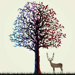 Tree with deer art print by Gallerist