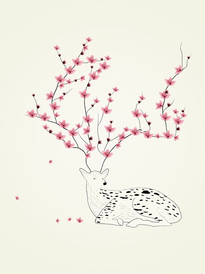 White deer with pink flower