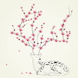 White deer with pink flower  art print by Gallerist