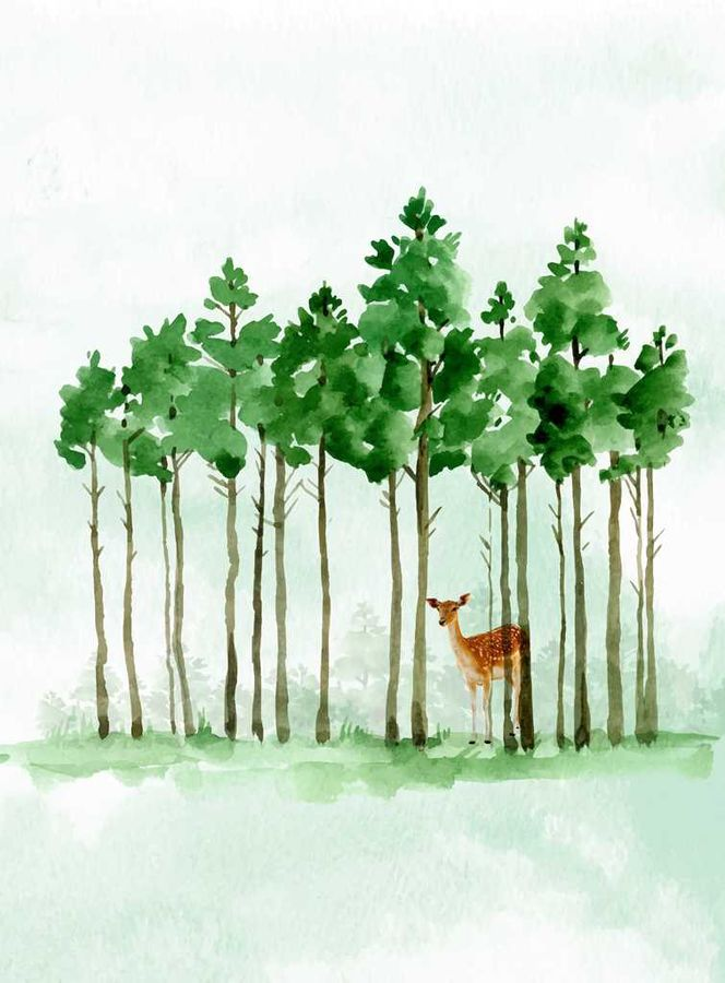 Green tree with a brown deer