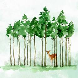 Green tree with a brown deer art print by Gallerist