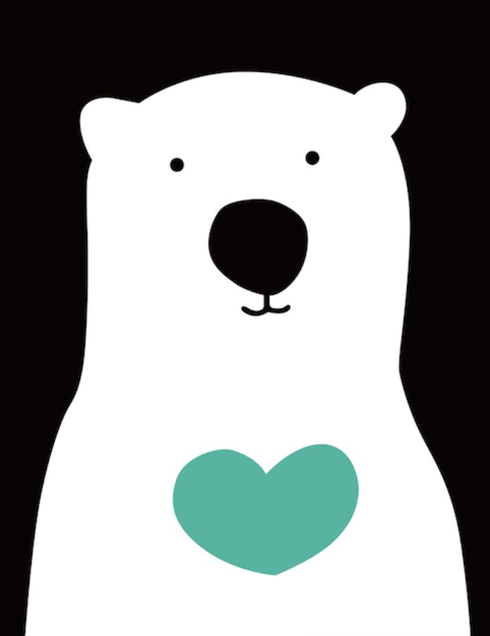 White bear with dark blue heart