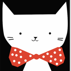 Cat with a red bo-tie art print by Gallerist