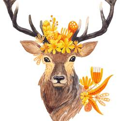 Deer with orange leaf  art print by Gallerist