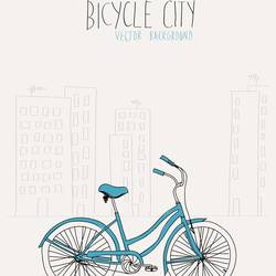 The bicycle in city art print by Gallerist
