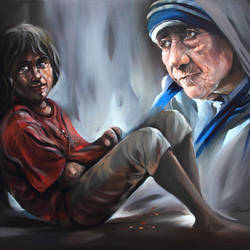 mother teresa-love and peace, 36 x 30 inch, bijendra  pratap ,religious paintings,paintings for dining room,mother teresa paintings,canvas,acrylic color,36x30inch,GAL04531238