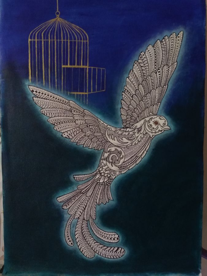 free bird - zentangle art, 26 x 18 inch, shubhangi khot,conceptual paintings,paintings for living room,canvas,acrylic color,26x18inch,GAL045124