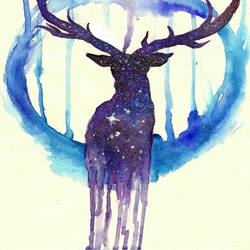 Moon light deer  art print by Gallerist