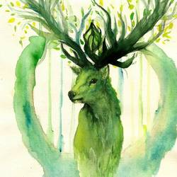 Green colour deer  art print by Gallerist