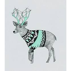 Deer with a cloth art print by Gallerist