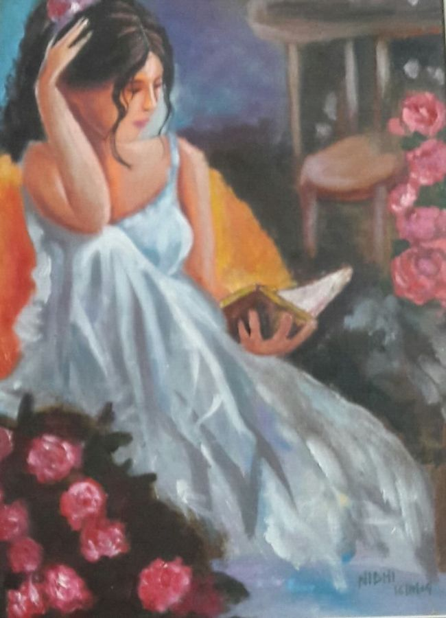 a girl on canvas , 15 x 15 inch, nidhi jain,modern art paintings,paintings for office,canvas,acrylic color,15x15inch,GAL05001243