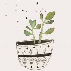 White pot with green leaf  art print by Gallerist