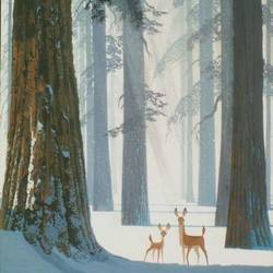 Big tree and small deer  art print by Gallerist