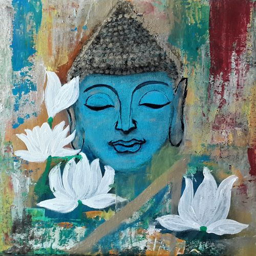 tranquillity-abstract buddha, 20 x 16 inch, anjali p,paintings,buddha paintings,modern art paintings,paintings for dining room,paintings for living room,paintings for bedroom,paintings for office,paintings for hotel,paintings for dining room,paintings for living room,paintings for bedroom,paintings for office,paintings for hotel,canvas,acrylic color,20x16inch,religious,peace,meditation,meditating,gautam,goutam,buddha,lord,blue,white lotus,GAL0525212465