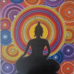 aura around buddha, 18 x 24 inch, priya  gupta,buddha paintings,paintings for living room,paintings for hotel,canvas,acrylic color,18x24inch,religious,peace,meditation,meditating,gautam,goutam,colorful,design,GAL0525112466