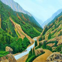 way to gangotri i, 47 x 34 inch, ajay harit,paintings,landscape paintings,nature paintings,expressionist paintings,realism paintings,paintings for dining room,paintings for living room,paintings for office,paintings for hotel,canvas,oil,47x34inch,GAL0199812478Nature,environment,Beauty,scenery,greenery