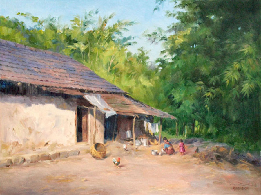 the village life, 21 x 16 inch, chandrashekhar rangnekar,paintings,landscape paintings,nature paintings,paintings for living room,paintings for bedroom,paintings for office,paintings for hotel,canvas,oil,21x16inch,GAL0523012481Nature,environment,Beauty,scenery,greenery