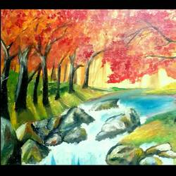fall fantasy, 16 x 12 inch, anagha kumbhojkar,paintings,abstract paintings,figurative paintings,landscape paintings,impressionist paintings,paintings for living room,paintings for bedroom,paintings for office,paintings for hotel,canvas,oil paint,16x12inch,GAL0527012493