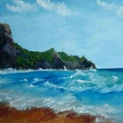 seascape, 14 x 10 inch, anagha kumbhojkar,landscape paintings,nature paintings,impressionist paintings,paintings for dining room,paintings for living room,paintings for bedroom,paintings for office,paintings for bathroom,paintings for hotel,water fountain paintings,canvas,oil,14x10inch,GAL0527012495Nature,environment,Beauty,scenery,greenery,beautiful,sun,trees,water,mountain,sea,kinara