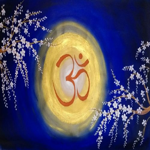 om in blossom, 38 x 23 inch, shubhangi khot,flower paintings,paintings for living room,canvas,acrylic color,38x23inch,GAL045125