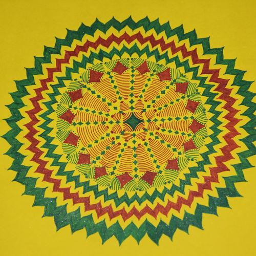 radiance mandala, 10 x 14 inch, verona babi,paintings,abstract paintings,paintings for living room,paintings for office,drawing paper,pen color,10x14inch,GAL0527212501