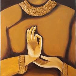 buddha mudra, 18 x 24 inch, madhuri  roy,18x24inch,canvas board,buddha paintings,paintings for dining room,paintings for living room,paintings for office,paintings for hotel,oil,religious,peace,meditation,meditating,gautam,goutam,buddha,mudra,brown,GAL0527612504