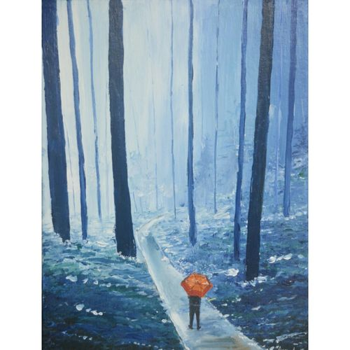 feel of cold , 12 x 17 inch, anuvind vinod,landscape paintings,modern art paintings,nature paintings,love paintings,paintings for dining room,paintings for living room,paintings for bedroom,paintings for hotel,canvas,acrylic color,12x17inch,GAL0528112516Nature,environment,Beauty,scenery,greenery,beautiful,trees,path,road,mist,fog,man,umbrella,cold