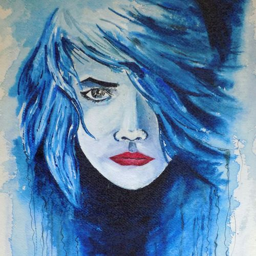 blue shade girl , 12 x 17 inch, anuvind vinod,figurative paintings,portrait paintings,abstract expressionist paintings,love paintings,paintings for dining room,paintings for living room,paintings for bedroom,paintings for kids room,paintings for hotel,handmade paper,watercolor,12x17inch,GAL0528112518