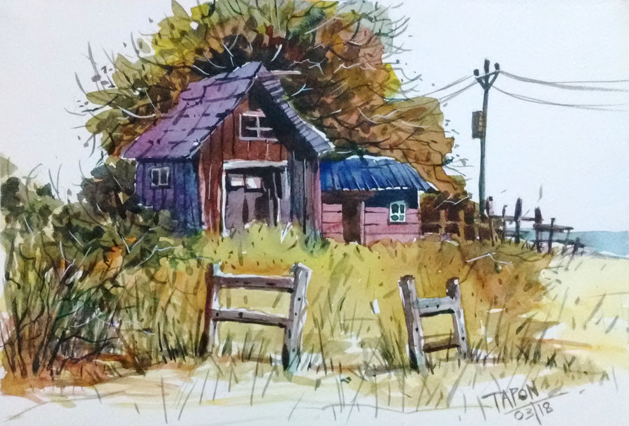 wooden house, 11 x 8 inch, tapon roy,paintings,nature paintings,paintings for dining room,paintings for living room,paintings for office,paintings for hotel,paintings for living room,paintings for office,paintings for hotel,fabriano sheet,watercolor,11x8inch,GAL0528312521Nature,environment,Beauty,scenery,greenery